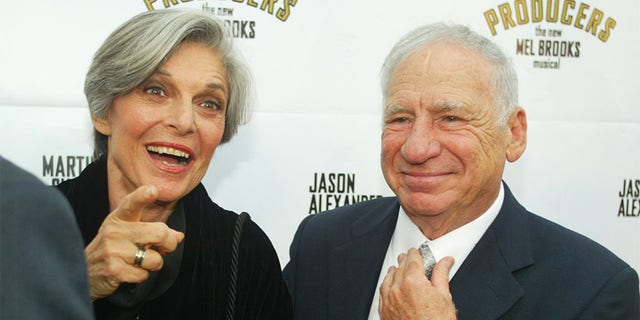 """Actor Mel Brooks and wife actress Anne Bancroft arrive for the opening night of the musical he created, """"The Producers,"""" on May 29, 2003, in Hollywood."""
