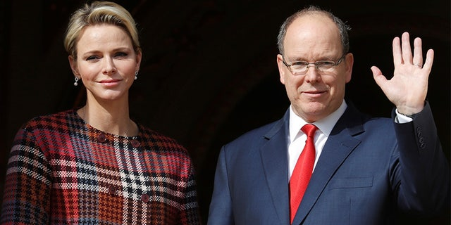 Prince Albert with his wife Charlene, Princess of Monaco.