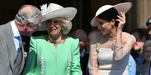 Left to right: Prince Charles, his wife Camilla Duchess of Cornwall and Charles' daughter-in law, Meghan Markle Duchess of Sussex