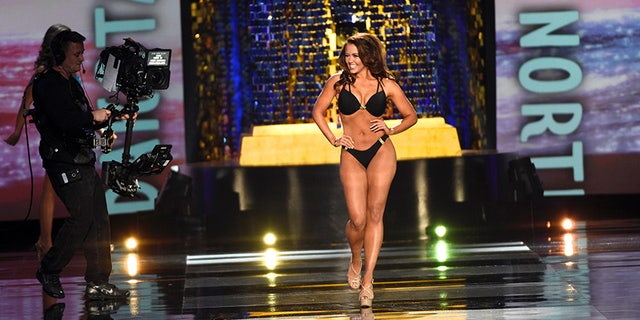 Cara Mund during the swimsuit competition portion of Miss America.
