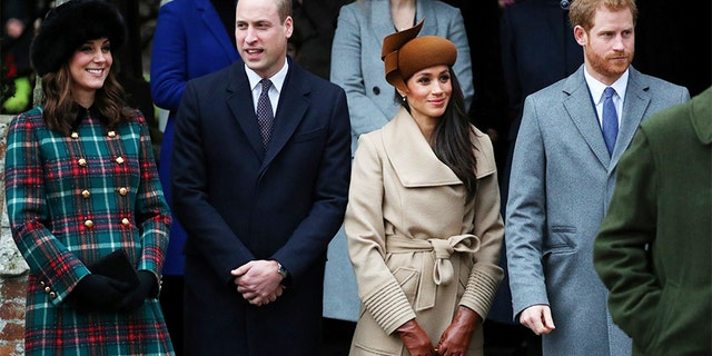 From left to right: Duchess of Cambridge Kate Middleton, Prince William, Meghan Markle and Prince Harry.