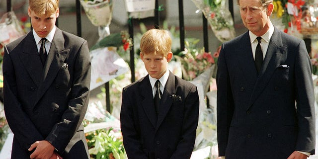 Prince Harry (center) with his brother Prince William and father Prince Charles at Princess Diana's funeral.