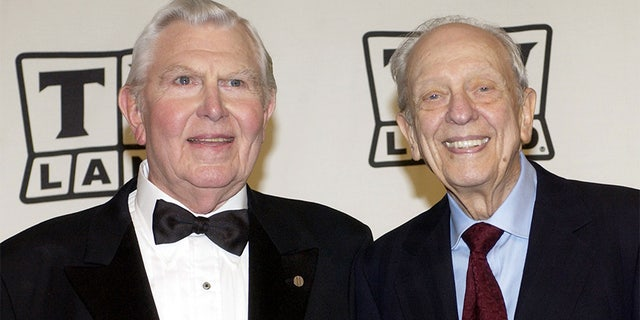 "Actors Andy Griffith (L) and Don Knotts pose backstage after accepting the Legend Award for their series ""The Andy Griffith Show"" during a taping of the second annual TV Land Awards in Hollywood in this file March 7, 2004 file photo."
