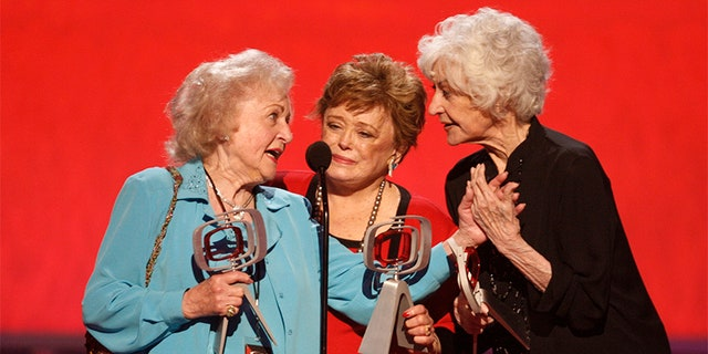 "Actresses Betty White, Rue McClanahan and Bea Arthur (L-R) who starred in the TV series ""The Golden Girls"" accept the Pop Culture Award at a taping of the 6th annual TV Land Awards in Santa Monica June 8, 2008."