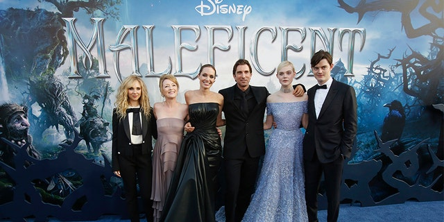 "Lesley Manville (in pink gown) worked alongside Angelina Jolie in Disney's ""Maleficent""."