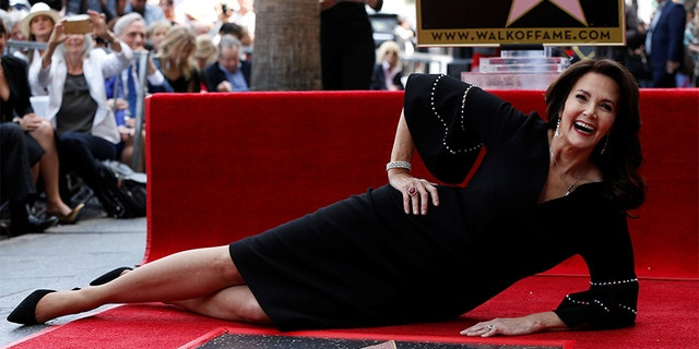 Lynda Carter receiving a star on Hollywood's Walk of Fame.