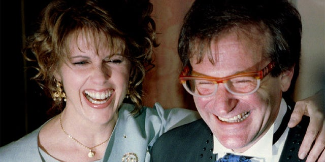"Pam Dawber (left) with her ""Mork & Mindy"" co-star Robin Williams."