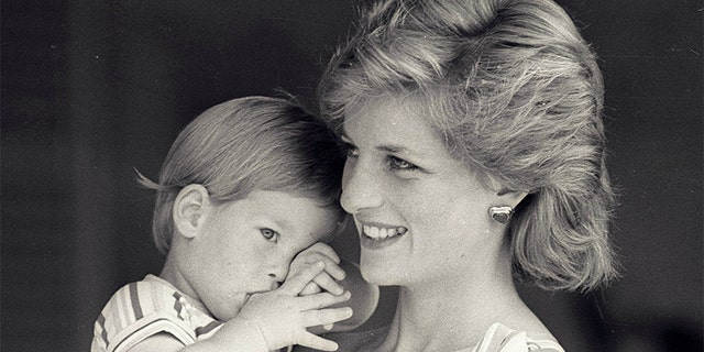 Young Prince Harry tries to hide behind his mother Princess Diana during a morning picture session at Marivent Palace on August 9, 1988.