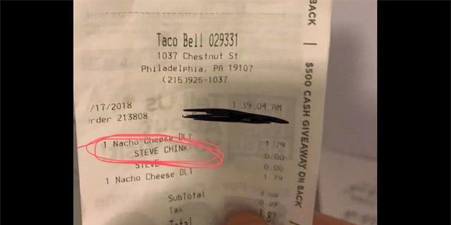 A Taco Bell employee allegedly referred to an Asian man with a derogatory slur that was printed on the man's receipt.