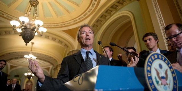 "Sen. Rand Paul, R-Ky. speaks at a news conference on Capitol Hill in Washington, Tuesday, July 18, 2017. President Donald Trump blasted congressional Democrats and ""a few Republicans"" over the collapse of the GOP effort to rewrite the Obama health care law.  (AP Photo/Andrew Harnik)"