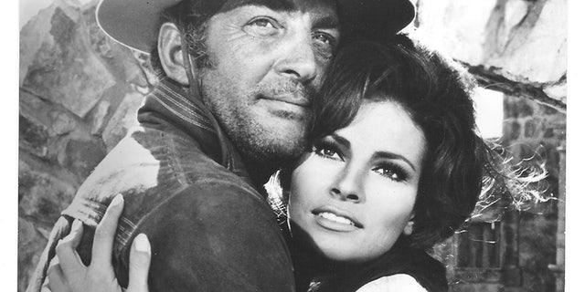 "Raquel Welch working alongside Dean Martin in the 1968 film ""Bandolero!""."