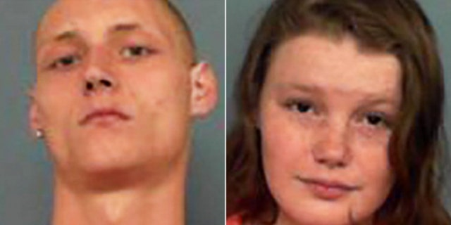 Charles Elliott, left, and Erica Shryock, right, pleaded guilty in Arkansas on Thursday after their 15-day-old daughter was found with more than 100 rat bites.