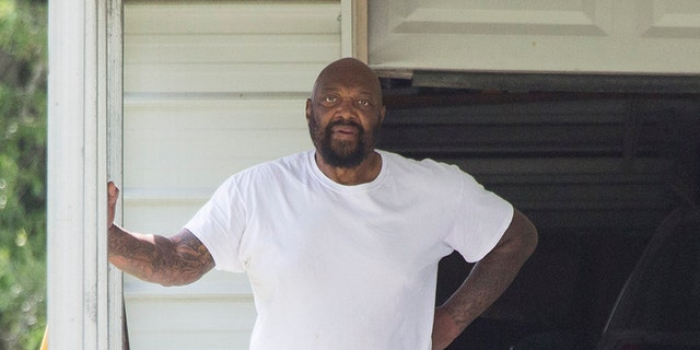 Ray Meeks, who has been in jail most of his son Jeremy Meeks' life, is spotted outside his brother's home in central Texas.