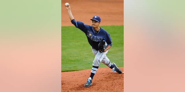 Tampa Bay Rays pitcher Chris Archer starts against the Montgomery Biscuits during an exhibition baseball game in Montgomery, Ala., on Saturday, March 29, 2014. (AP Photo/Montgomery Advertiser, Mickey Welsh) NO SALES