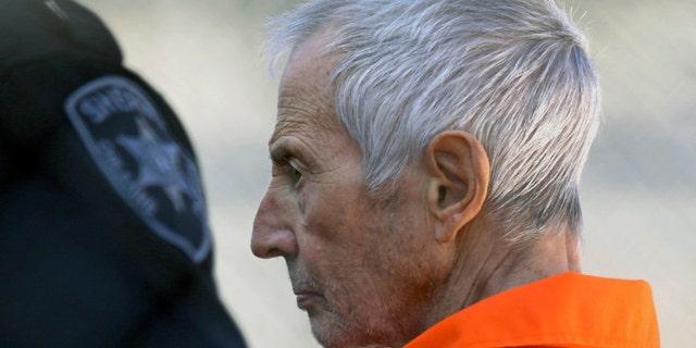 March 17, 2015: Robert Durst is escorted into Orleans Parish Prison after his arraignment in Orleans Parish Criminal District Court in New Orleans. (AP Photo/Gerald Herbert, File)