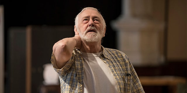 "John Mahoney rehearsing for ""The Rembrandt."""