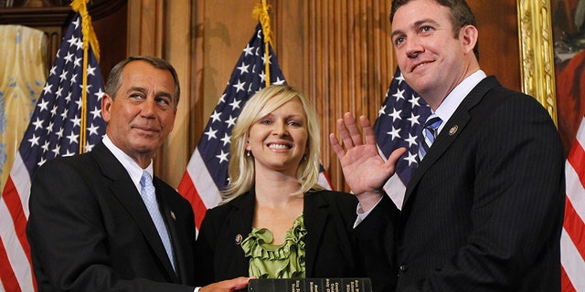 Rep. Duncan Hunter and his wife, Margaret, at his swearing-in ceremony on Capitol Hill on Jan. 5, 2011.