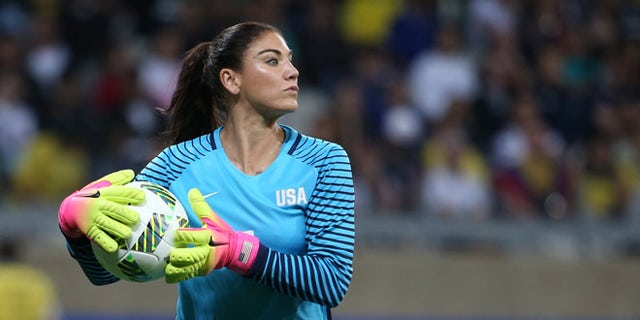 Hope Solo during Olympic match against New Zealand at the Mineirao stadium in Belo Horizonte, Brazil, Aug. 3, 2016.