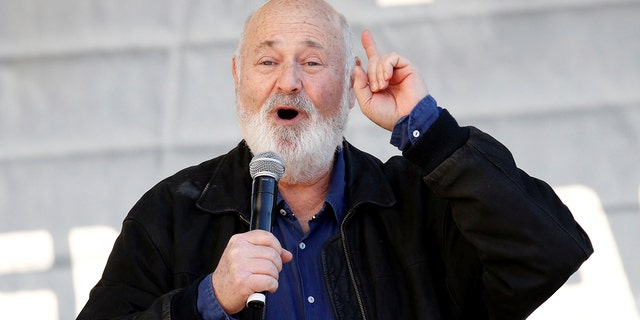 Director Rob Reiner speaks at the second annual Women's March in Los Angeles, Calif., Jan. 20, 2018.