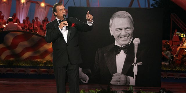 Robert Davi seen performing a Sinatra tribute in honor of Frank Sinatra's 100th birthday on July 3, 2015 in Washington, DC.