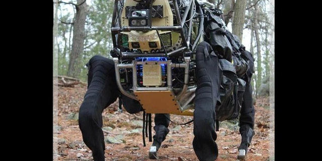 The LS3 robot funded by DARPA is a faster, quieter version of Boston Dynamics' BigDog robot.