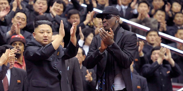 FILE: Undated: North Korean leader Kim Jong-Un and former NBA star Dennis Rodman in Pyongyang. Released by North Korea's KCNA news agency on March 1, 2013.