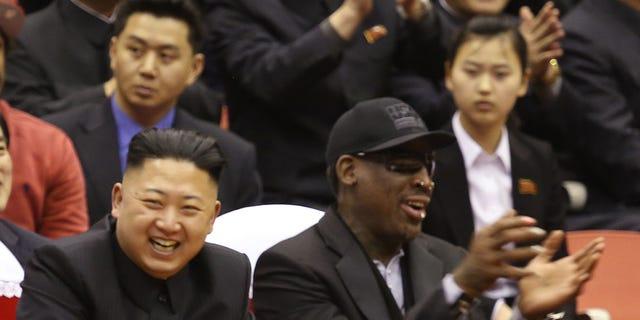 Feb. 28, 2013: North Korean leader Kim Jong Un, left, and former NBA star Dennis Rodman watch North Korea and the U.S. play an exhibition basketball game in Pyongyang, North Korea. (AP)