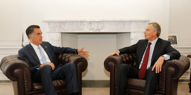 July 26, 2012: Republican presidential candidate and former Massachusetts Gov. Mitt Romney meets with former British Prime Minister Tony Blair in London.