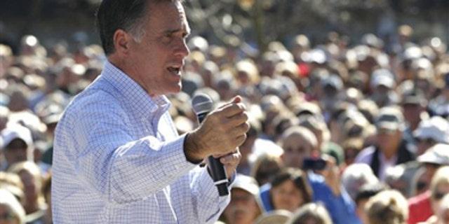 Jan. 30, 2012: Republican presidential candidate, former Massachusetts Gov. Mitt Romney campaigns at Pioneer Park in Dunedin, Fla.