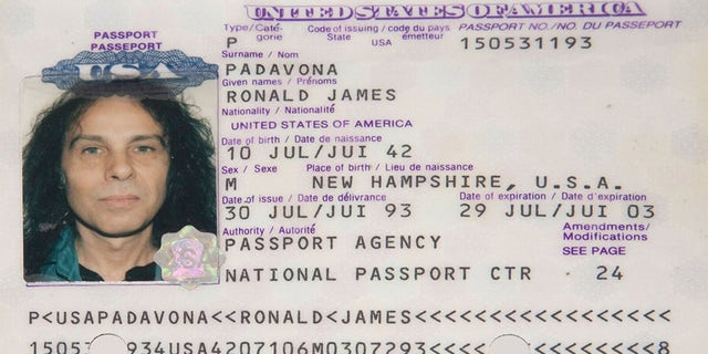 Ronnie James Dio's 1993 passport was one of the many items from his estate that were available at auction.