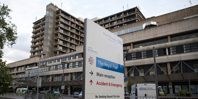 A sign is displayed outside of the Royal Free Hospital in north London August 24, 2014.  REUTERS/Neil Hall
