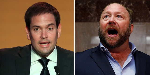 Sen. Marco Rubio got into a spat with personality Alex Jones on Wednesday.