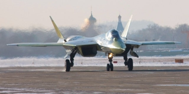 A photograph from Wikipedia reportedly of a Sukhoi PAK FA fifth generation fighter prototype taxiing on the day of its first flight, 29 January 2010.