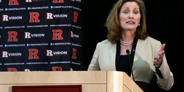 May 15, 2013: Julie Hermann answers a question in Piscataway, N.J., after she was introduced as Rutgers' new athletic director.