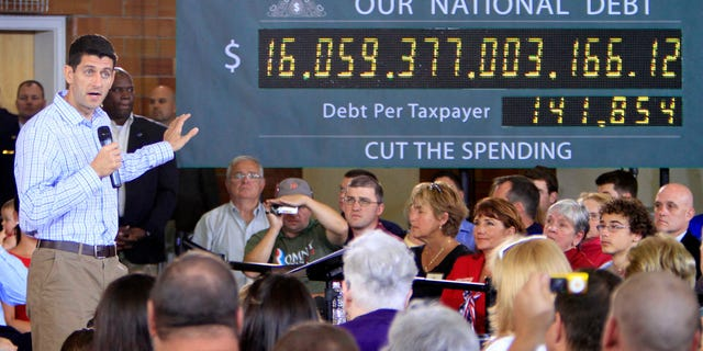 FILE: Sept. 18, 2012: GOP vice presidential nominee Rep. Paul Ryan, R-Wis., campaigns in Dover, N.H., with the national debt clock on stage. Republicans were highly critical of spending levels under President Obama during his administration.