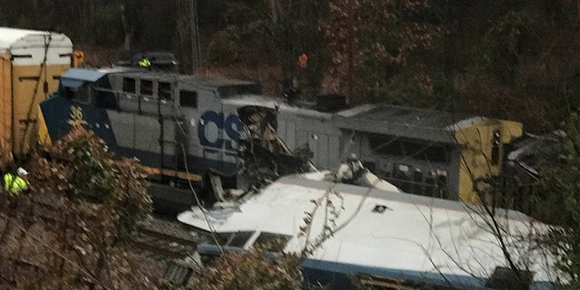 Lexington County emergency officials responding to the scene where an Amtrak train collided with a CSX freight train in Cayce, South Carolina early Sunday morning.