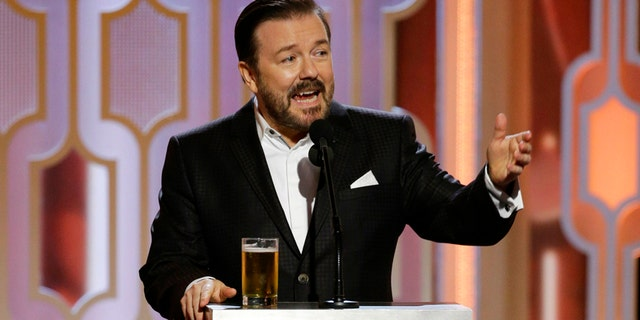 Host Ricky Gervais at the 73rd Annual Golden Globe Awards on Jan. 10, 2016.