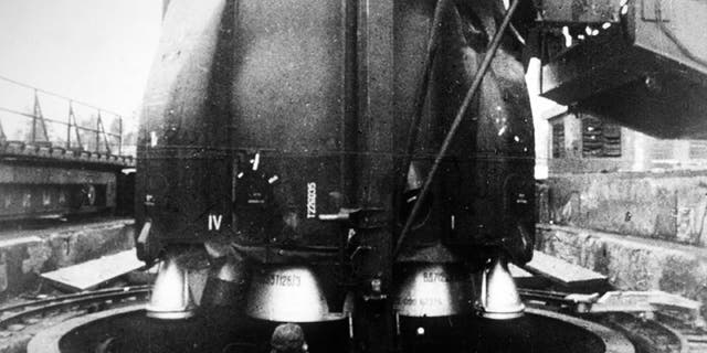 """A Department of Defense image of an SS-9 ICBM missile, one of a family of missiles designed by the Soviet Union during the Cold War and given the name """"Satan"""" by NATO."""