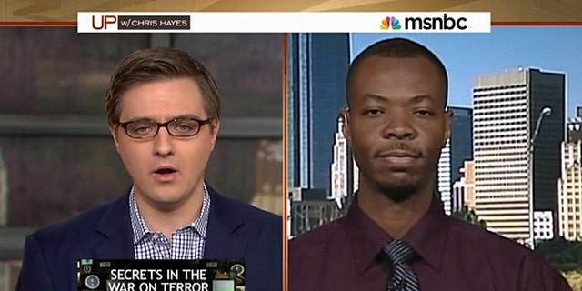 """Saadiq Long being interviewed on Chris Hayes' MSNBC show in which he recounted being place on the """"no-fly"""" list back in 2013."""