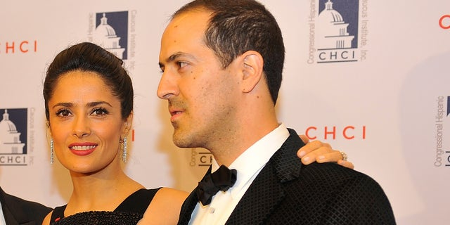 WASHINGTON, DC - OCTOBER 02:  Salma Hayek poses for a photo with her father, Sami, left and her brother, Sami Junior, right, at the Congressional Hispanic Caucus Institute 2013 gala> at The Walter E. Washington Convention Center on October 2, 2013 in Washington, DC.  (Photo by Larry French/Getty Images)