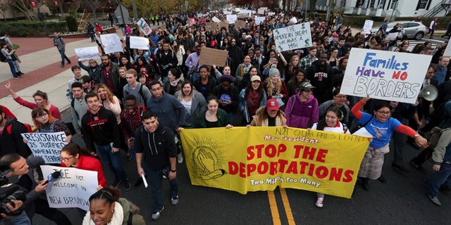 Hundreds of Rutgers University students march last month to protest some of President-elect Donald Trump's proposed policies.