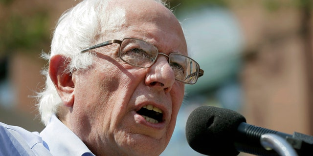 Democratic presidential candidate, Sen. Bernie Sanders, I-Vt., speaks during the opening of his Cedar Rapids field headquarters, Sunday, Aug. 16, 2015, in Marion, Iowa. (AP Photo/Charlie Neibergall)