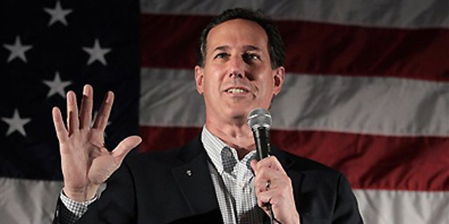 April 2, 2012: Republican presidential candidate, former Pennsylvania Sen. Rick Santorum speaks in Menasha, Wis.