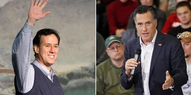 File: Republican presidential candidates Rick Santorum and Mitt Romney