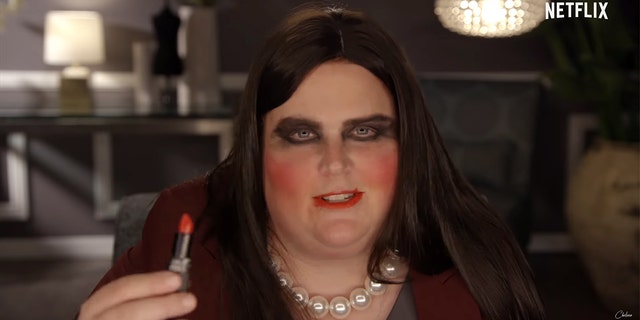 Comedian Fortune Feimster portrays Press Secretary Sarah Sanders on Chelsea Handler's Netflix show.