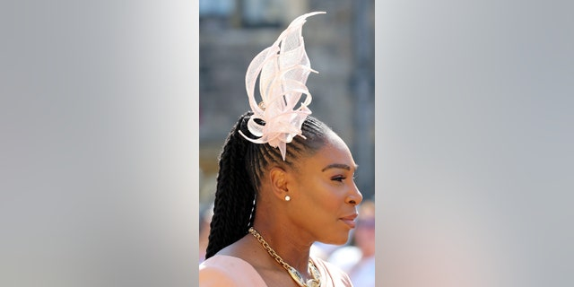 Serena Williams arrives for the wedding ceremony of Prince Harry and Meghan Markle at St. George's Chapel in Windsor Castle in Windsor, near London, England, Saturday, May 19, 2018. (Gareth Fuller/pool photo via AP)