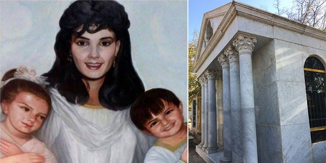 Guadalupe Leija Serrano was the wife of Héctor Luis Palma Salazar, 'El Guero'. She and her two young children Nataly and Héctor were all murdered by a Venezuelan drug trafficker to get at El Guero, who was sent the severed head of his wife in a box; In the cupola of their small mausoleum, Guadalupe and her children are depicted in a painting as angels seated in heaven (left)