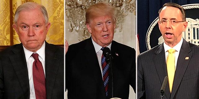 Attorney General Jeff Sessions, President Trump and Deputy Attorney General Rod Rosenstein