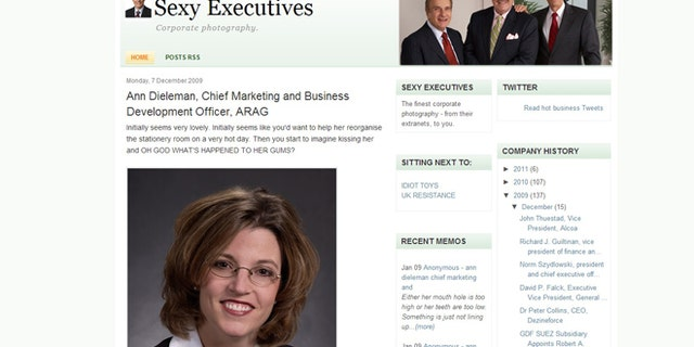 """A screenshot of the """"sexy executives"""" website, which is being sued for copyright infringement. The case highlights the growing online problem of blogs using unlicensed photographs."""