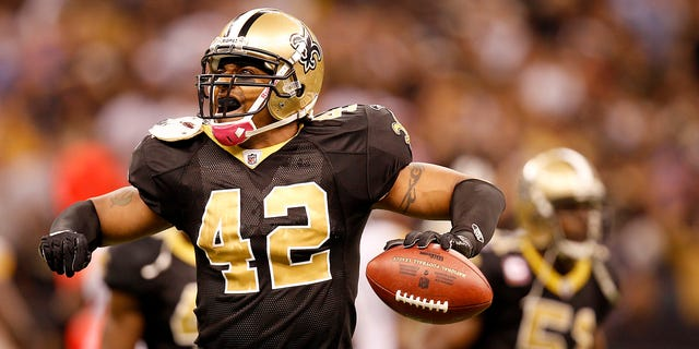 Oct. 31, 2010: New Orleans Saints cornerback Darren Sharper celebrates after recovering a fumble by Pittsburgh Steelers tight end Heath Miller (not in picture) during the fourth quarter of their NFL football game in New Orleans, Louisiana.